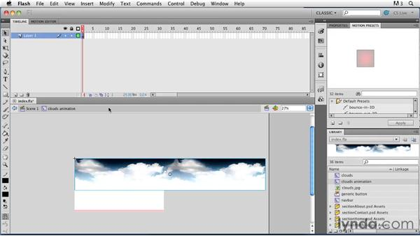 Creating custom looping animation: Creating a First Web Site with Flash Professional CS5