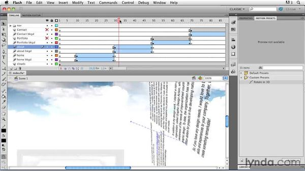 Reusing custom animation: Creating a First Web Site with Flash Professional CS5