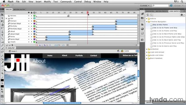 Adding button functionality: Creating a First Web Site with Flash Professional CS5