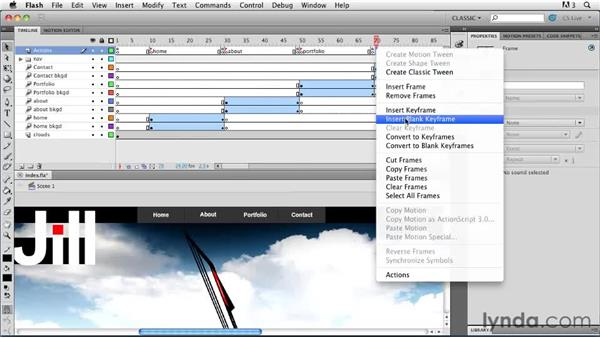 Adding precise Timeline control: Creating a First Web Site with Flash Professional CS5