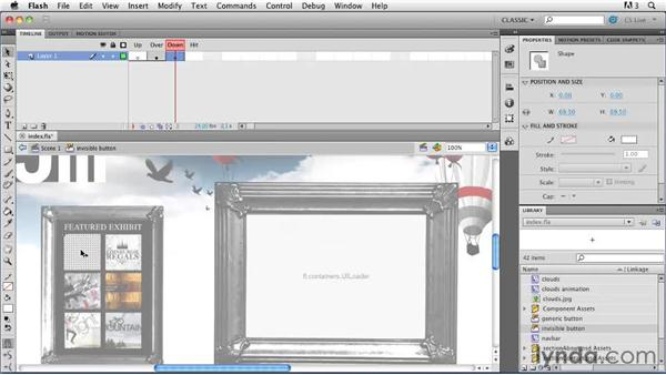 Creating invisible buttons: Creating a First Web Site with Flash Professional CS5