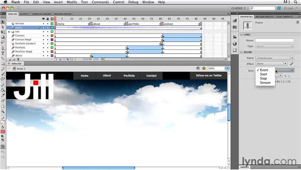 Adding music: Creating a First Web Site with Flash Professional CS5