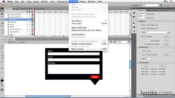 Creating input text fields: Creating a First Web Site with Flash Professional CS5