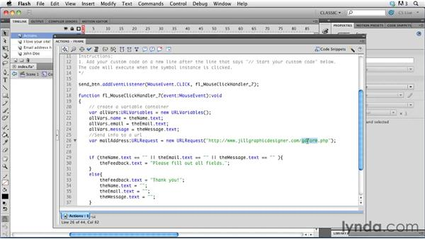 Sending data to an email address: Creating a First Web Site with Flash Professional CS5