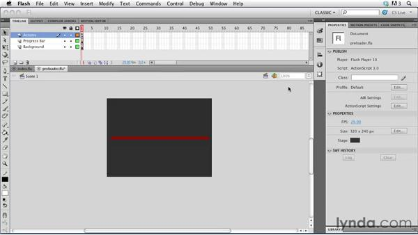 Adding a progress bar: Creating a First Web Site with Flash Professional CS5