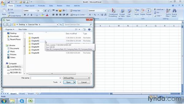 Using the exercise files: Excel 2007: Working with Dates and Times