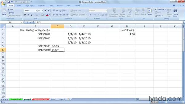 Looking at standard date/time entry options and acceptable alternatives: Excel 2007: Working with Dates and Times
