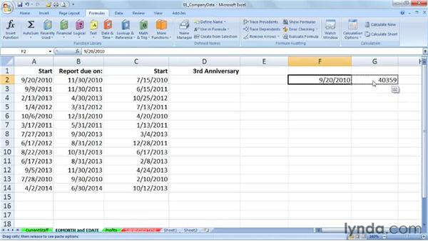EOMONTH and EDATE: Setting ends of months and future/past dates: Excel 2007: Working with Dates and Times