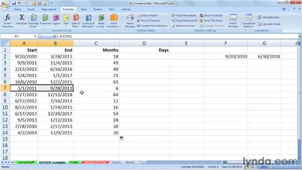 DATEDIF: Calculating date differences by year, month, day, and more: Excel 2007: Working with Dates and Times