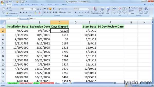 Calculating date differences across days, months, and years: Excel 2007: Working with Dates and Times