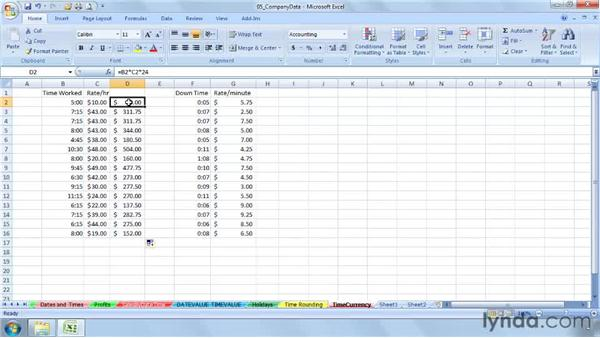 Using times with currency calculations: Excel 2007: Working with Dates and Times