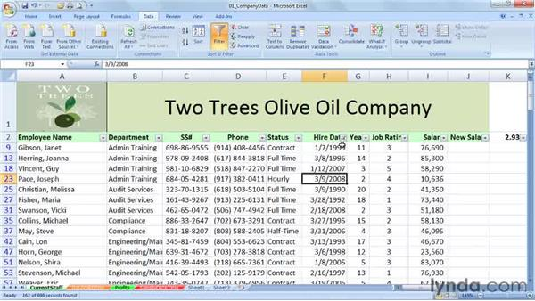 Using special date filters with date data: Excel 2007: Working with Dates and Times