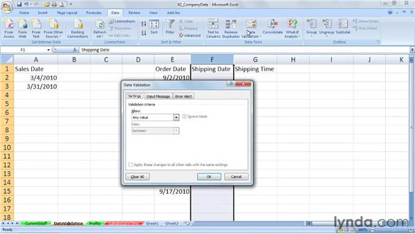 Using date controls in data validation rules: Excel 2007: Working with Dates and Times