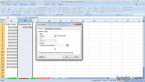 Using date functions in data validation rules: Excel 2007: Working with Dates and Times