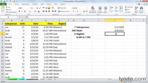 Understanding how Excel records and stores dates: Excel 2010: Working with Dates and Times