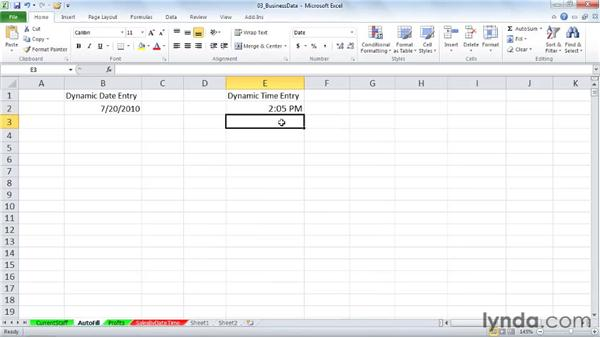 Using the TODAY and NOW functions for dynamic date/time entry: Excel 2010: Working with Dates and Times