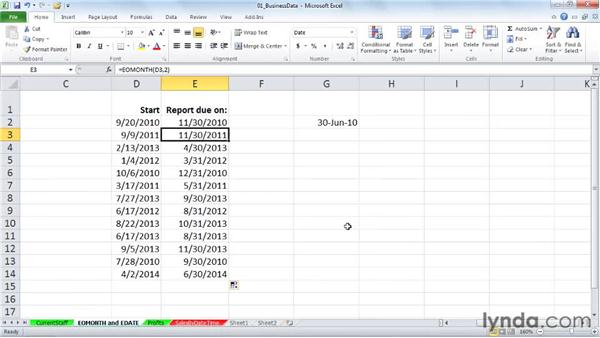EOMONTH and EDATE: Calculating ends of months and future/past dates: Excel 2010: Working with Dates and Times