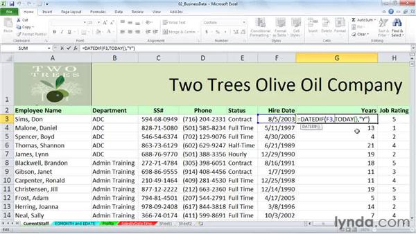 DATEDIF: Calculating date differences by year, month, day, and more: Excel 2010: Working with Dates and Times