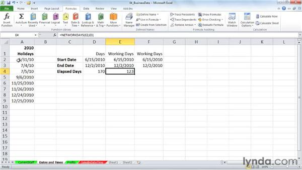 NETWORKDAYS: Calculating working days: Excel 2010: Working with Dates and Times