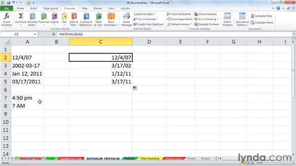 DATEVALUE and TIMEVALUE: Converting text entries into dates and times: Excel 2010: Working with Dates and Times