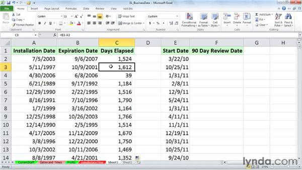 Calculating date differences across days, months, and years: Excel 2010: Working with Dates and Times