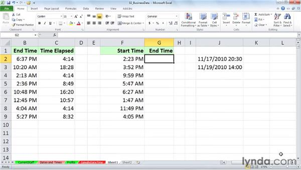 Calculating time differences within and across days: Excel 2010: Working with Dates and Times