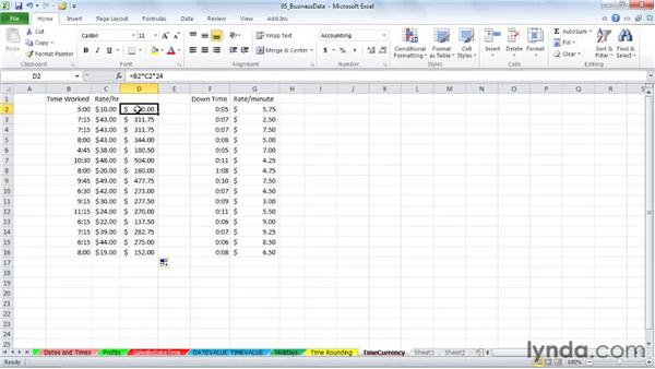 Using times with currency calculations: Excel 2010: Working with Dates and Times