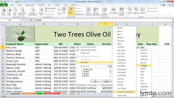 Using special date filters with date data: Excel 2010: Working with Dates and Times