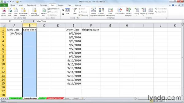 Using date controls in data validation rules: Excel 2010: Working with Dates and Times