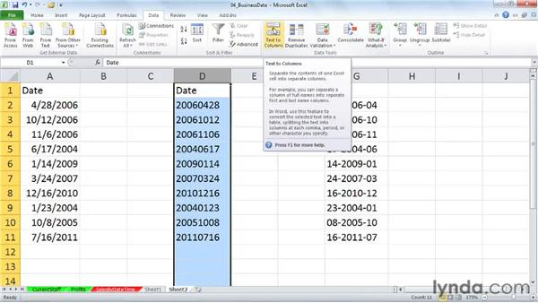 Converting unusually formatted dates into usable data (text to columns): Excel 2010: Working with Dates and Times