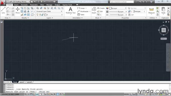 Locking angles with the Ortho and Polar modes: AutoCAD 2011 Essential Training