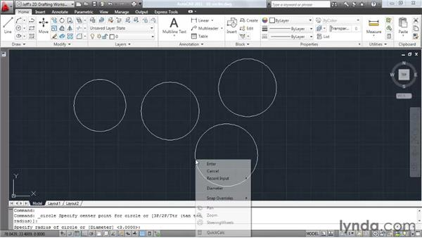 Drawing circles: AutoCAD 2011 Essential Training