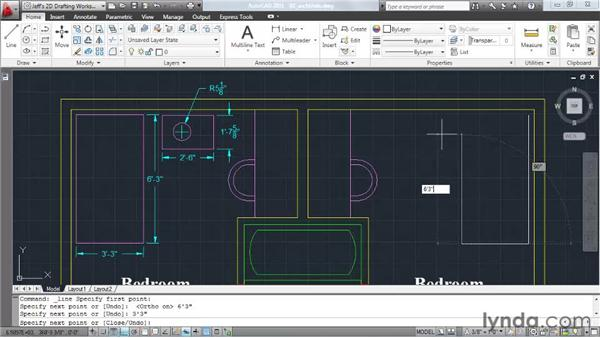 Constructing geometry using architectural measurements: AutoCAD 2011 Essential Training