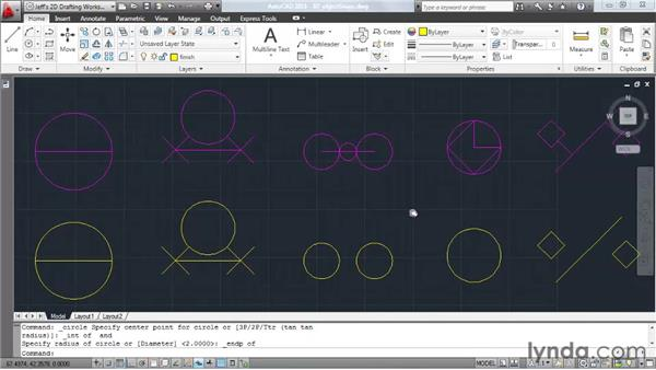 Locking to geometry using object snaps: AutoCAD 2011 Essential Training