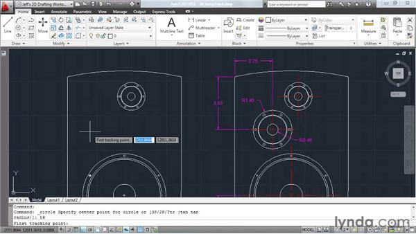 Using temporary tracking to find points in space: AutoCAD 2011 Essential Training