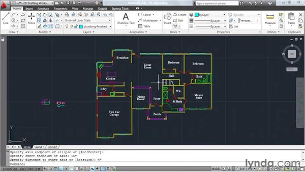 Creating an ellipse: AutoCAD 2011 Essential Training