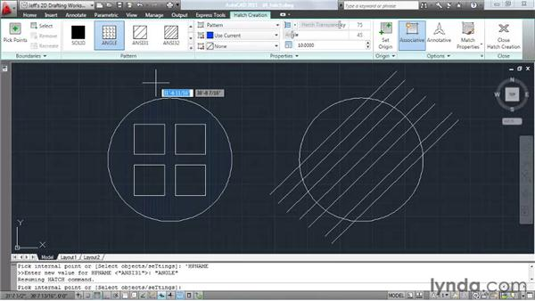 Organizing with hatch patterns: AutoCAD 2011 Essential Training