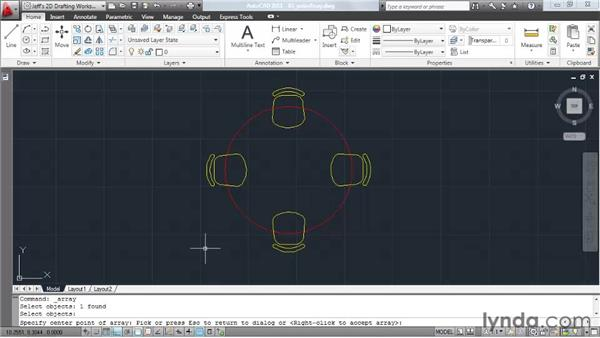 Copying objects into a rotated pattern: AutoCAD 2011 Essential Training