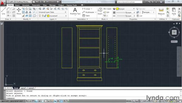 Copying objects into a rectangular pattern: AutoCAD 2011 Essential Training