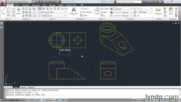 Creating single-line text: AutoCAD 2011 Essential Training