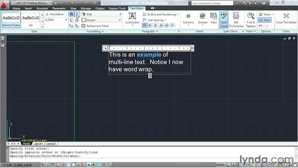 Annotating with multi-line text: AutoCAD 2011 Essential Training