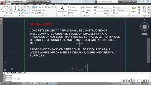 Editing text: AutoCAD 2011 Essential Training