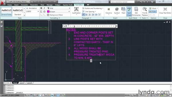 Creating bulleted and numbered lists: AutoCAD 2011 Essential Training