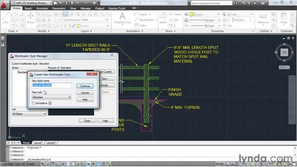 Controlling appearance using multileader styles: AutoCAD 2011 Essential Training