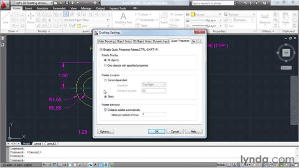 Modifying properties using the Quick Properties tool: AutoCAD 2011 Essential Training