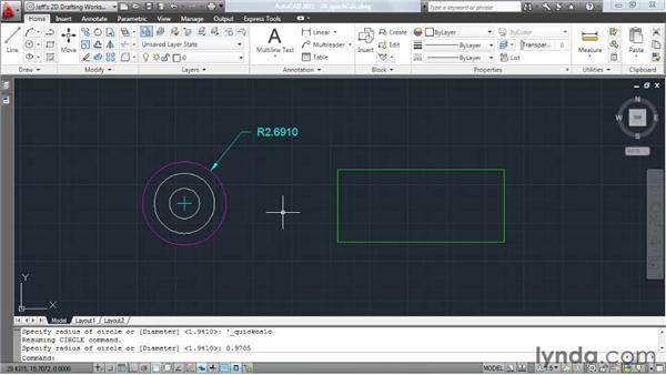 Automating calculations using the Quick Calculator feature: AutoCAD 2011 Essential Training