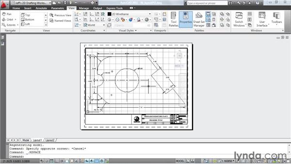 Creating a layout, pt. 3: Cutting viewports: AutoCAD 2011 Essential Training
