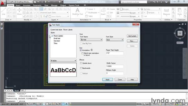 Using the Annotative property to automatically size text: AutoCAD 2011 Essential Training