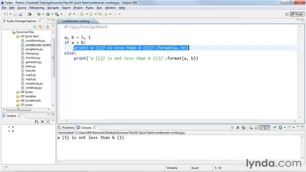 Selecting code with conditionals: Python 3 Essential Training