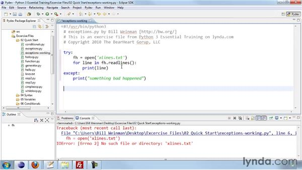 Handling errors with exceptions: Python 3 Essential Training